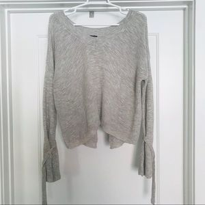 EXPRESS Oatmeal Tie Sleeve Sweater